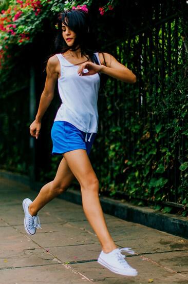 Thin light woman running